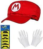 Balinco Super Mario Mütze rot im Komplettset mit weißen Handschuhen und Klebe-Bärten für...