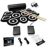 COSTWAY 9 Pad elektronische Trommel E-Drum Elektronik Drum Instrument Faltbar Schlagzeug + 2 Fußped