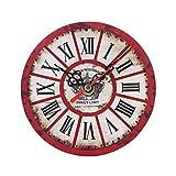 Uhr,Binggong Vintage Style Nicht-tickende Stille Antike Holz Wanduhr für Home Kitchen Office Runde...