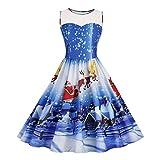 Xinan Weihnachten Kleid Print Swing Weihnachten Dress Vintage Frauen Xmas Print Lace Partykleid...