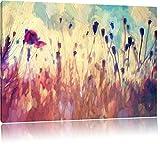 Mohn im Weizenfeld Kunst Pinsel Effekt, Format: 100x70 auf Leinwand, XXL riesige Bilder fertig...