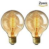 KINGSO 2X Edison Glühbirne E27 Retro Globe Glühlampe 40W Vintage birne dimmbar Filament Fadenlampe...