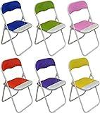 Set von 6 gepolsterte Klappstühle Blau, Grün, Rosa, Lila, Rot und Gelb - Ideal für, Büro,...