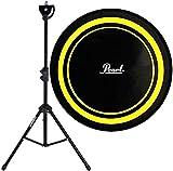 Pearl PDR-08P Practice Drum Pad Gelb/Schwarz Übungspad 8' + KEEPDRUM DPS Stativ Übungspadständer