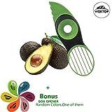 Avocadoschneider, 3 in 1 Green Splits Pits Scheiben Scharfe Klinge Obst Avocado Mango Papaya Pitter...