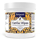 Petpost   Ohrenreiniger für Katzen - 100 Ultra-Weiche Wattetücher getränkt in Kokosnussöl -...