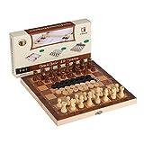 3-in-1 faltende Reise Schach & Schachfiguren & Backgammon Holz Schach-Set von Joview für Kinder...