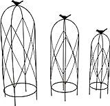 3er - Set Rankgerüst Schmiedeeisen Rankhilfe Obelisk für Topf H: 53cm Eisen