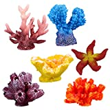 UEETEK 6 Stück Multicolor Aquarium Decor Künstliche Meer Star Gefälschte Korallen Versteckt...