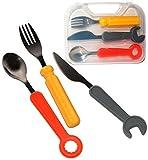 4 tlg. Set _ Besteckset - ' Werkzeug ' - aus rostfreien Edelstahl & Silikon Griffe - incl....