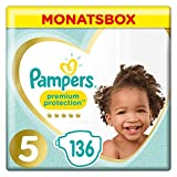 Pampers Premium Protection Windeln, Gr.5, 11-16kg, Monatsbox, 1er Pack (1 x 136 Stück)