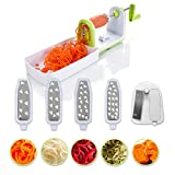 Kompakter Gemüse Spiralschneider mit 5 Klingen und Saugnapf von Twinzee - 5 schnell auswechselbare...