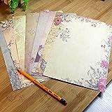 10pcs Vintage Rose Blume Briefpapier Klassisches Brief Papier 185 x 260mm (Zufällige Farbe)