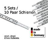 10 Stück (5 Satz) Schubladenschienen Teilauszug Rollenauszug Teleskopschiene Kugelführung L 342 mm...