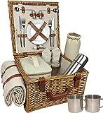 Rot behindern Unisex Deluxe Komplett ausgestattete Traditionelle Picknick Korb, braun,...