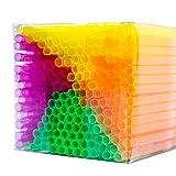 NEON STYLES – Strohhalme in vier intensiv bunten Neonfarben, 225 Stück in einer transparenten...