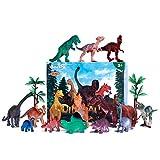 iBaseToy 31 Stücke Dinosaurier Spielzeug Enthält 15 Stücke Dinosaurier Figuren und eine Karte,...