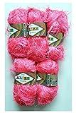 5 x 100 Gramm Alize Strickgarn mit Fransen, 500 Gramm Plüsch Fransengarn (neon pink 157)