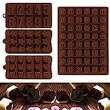 JPSOR 4 Stück Schokolade Formen, Pralinenform, Zahlen, Stabenbuch Schokolade Formen, Silikon Form,...