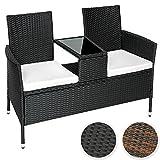 TecTake Sitzbank mit Tisch Poly Rattan Gartenbank Gartensofa inkl. Sitzkissen - diverse Farben -...