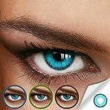 Farbige Jahres-Kontaktlinsen CARIBBEAN Blue - MIT und OHNE Stärke in BLAU - von LUXDELUX® - ohne...