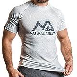 Natural Athlet Fitness T-Shirt Meliert - Herren Männer Kurzarm Shirt Optimal für Fitnessstudio,...