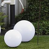 Kugelleuchten 2er SET, Gartenbeleuchtung 30 & 40 cm Ø, Außenleuchten, weiße Gartenlampen, Innen &...