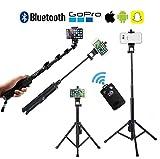 Bluetooth Selfie Stick Stange 30-128cm mit Fernbedienung, 360 Degree Rotation, HD Foto/Video/Vlog...