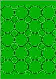 100 Etiketten Farbetiketten selbstklebend rund 50 mm GRÜN permanent klebend auf Bogen A4 (5 Bögen...