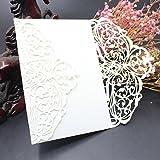 sunnymi 10Pcs Hochzeit Geburtstag Hohle Papierkarte weiß Einfarbige Einladungen,Hochzeit...
