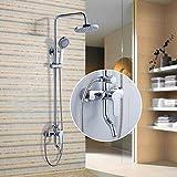 Auralum® Elegant Design Chrom Duschsystem Wasserfall Regenbrause Kopfbrause Duschset Dusche...