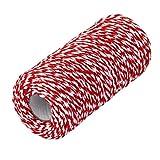 PIXNOR 100m Baumwolle Bakers Twine String Kabel für Glas Flasche Geschenk Box Decor Craft (rot +...