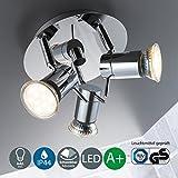 LED Baddeckenleuchte I schwenkbar I Chrom I Deckenleuchte I Badezimmer-Lampe I warm-weiß I 3 x 3 W...