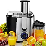 Monzana® Entsafter für Obst und Gemüse aus Edelstahl Motorleistung max. 1100W große 85 mm...