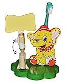 Zahnputzuhr / Zahnbürstenhalter - Elefant Zirkus - mit Sanduhr + Zahnbürste - aus Holz - für...