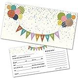 12 Einladungskarten Kindergeburtstag mit Luftballons – Einladungen Geburtstag Jungen Mädchen mit...