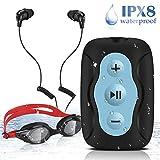 8GB IPX8 Wasserdichter Clip MP3 Player mit wasserdichten Stereo Kopfhörern und Schwimmbrille für...
