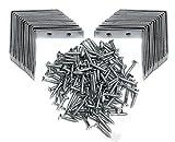 30 St. Winkelset 50mm x 50mm mit Schrauben Metallwinkel Winkelklammer Stahlwinkel 90 Grad...