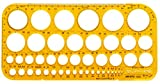 Aristo AR5033 Kreisschablone (45 Kreise + Symbole, 260 x 130 mm, 1,5 mm,) transparent gelb
