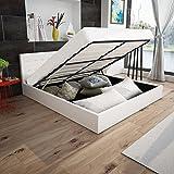 Anself Polsterbett Doppelbett Bett Ehebett aus Kunstleder mit Bettkasten 180x200cm ohne Matratze...