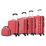 5 teiliges Koffer Set Hartschalenkoffer von Jalano Reisekofferset ineinander stapelbar Gepäck Set...