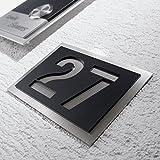 Metzler-Trade® Hausnummer aus hochwertigem V2A-Edelstahl und Acrylglas. Rostfrei und...