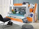 Furnistad - Etagenbett LUNA - Kinder Stockbett (Weiß + Orange)