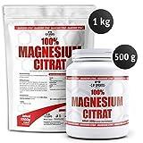 C.P.Sports 100% Magnesium Citrat Pulver - 500g Dose und 1000g Beutel, vegan, laborgeprüft, zur...