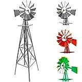 Gigantisches Windrad im US-Style aus Stahl, Höhe 245cm, Rotor 55cm, kugelgelagert, Farben silber,...