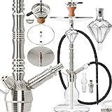 DILAW Azur Shisha Edelstahl Silber V2A 75cm Hookah Medium + Glas Kohleteller | Wasserpfeife...