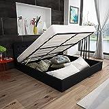 Festnight Polsterbett Doppelbett Bett Ehebett aus Kunstleder mit Bettkasten 140x200cm ohne Matratze...