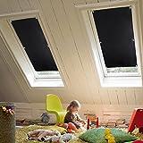 KINLO 38x75 cm Thermo Dachfenster Sonnenschutz Verdunkelungsrollo für Velux Dachfenster aus 100%...