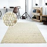 Moderner Handweb Teppich Alpina handgewebt aus Schurwolle für Wohnzimmer, Esszimmer, Schlafzimmer...