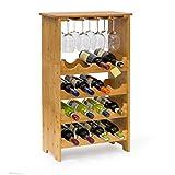 Weinregal Standregal Flaschenregal 50x24x84cm Gläserregal Weinschrank 16 Flaschen und 12 Gläser...